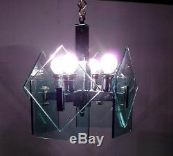 Mid Century Italian Chandelier Fontana Arte Veca Murano Glass 1960s Vintage Lamp