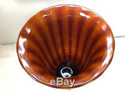 Mid Century Modern Gino Cenedese Red -Amber Scavo Vase Vintage Murano Art Glass