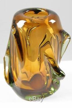 Midcentury Italian Amber Murano Art Glass Vase Handblown Vintage 1960s Retro