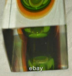 Mod Vintage MURANO Allesandro Mandruzzato Vase BLOCK Green Amber Sommerso