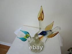 Murano Art Glass Birds on Tree Branches Multicolored 13 H Vintage Signed XLNT