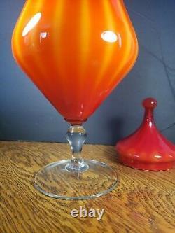 Murano Empoli Orange Yellow Glass Apothecary Jar Circus Tent Lid VTG mid century
