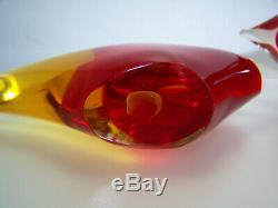 Murano Glass Fish Pair Red and Yellow MCM Vintage 1960's Excellent Condition
