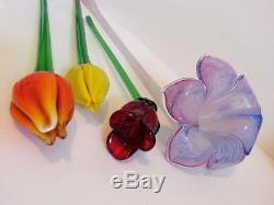 Murano Glass Flowers Hand Blown Long Stem Art Variety Lot Of 4 Colorful Vintage