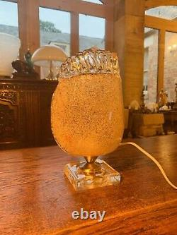 Murano Glass Gold Leaf Table Lamp, Vintage Murano Handmade Glass