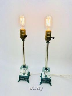 Murano Glass Hollywood Regency Table Lamps Clear Cube Column Mid Century Vintage