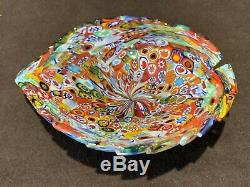Murano Glass Italy Millefiori Paperweight Leaf Bowl Multi Color 5 3/4 L Vintage
