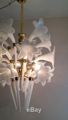 Murano Hand Blow Glass Chandelier Calla Lily Vintage Brass Antique Light Lamp