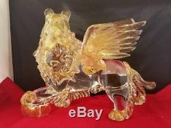 Murano Hand Blown St. Mark Lion Sparkling Gold Art Glass 10.5x5.5x8 Vintage