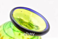 Murano Millefiori Lime Green Studio Art Glass Vase HEAVY vintage 7 tall