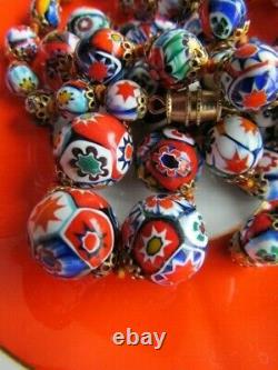 Murano Millefiori Venetian Vintage Bead Necklace Bracelet Glass Craft Lot Set