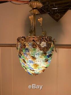 Murano Multicoloured Glass Disc Basket Chandelier, Vintage Italian Light