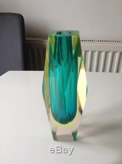 Murano Sommerso Mandruzzato Faceted Cased Vase Vintage Retro