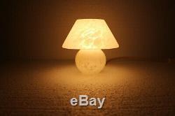 Murano Style White Mushroom Small Glass Lamp/Vintage Mushroom Lamp/1970s