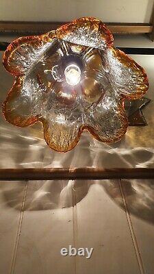 Murano Tulip Glass Pendant Light, Barovier & Toso Mid Century Vintage