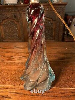 Murano Twisted Glass Table Lamp, Rewired 1950s Seguso, Vintage
