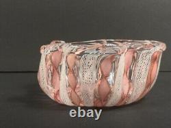 Murano Venetian Art Glass Vintage Bowl Zanfirico Latticino Gold Pink White