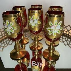 Murano Venetian Art Glass Vintage Stem Wine Gold Ruby Red Enamel Lot of 6 #EL60
