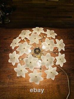 Murano Vintage Glass White Flower Chandelier, Gold Plated Italian Light, MCM