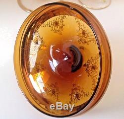Murano Vintage Italian Amber Color Jeweled Glass Set of 15 Pieces. GORGEOUS