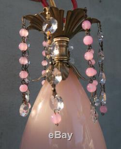 Murano chandelier Ceiling lamp Pink Flamingo Opaline Glass Brass crystal Vintage