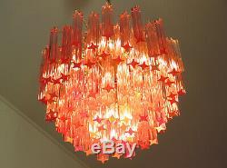 Murano vintage chandelier 107 pink quadriedri gold frame
