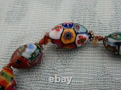 Original Vintage Art Deco Murano Millefiori Beads set, from Old Jewelers estate