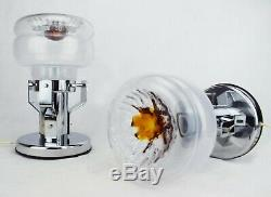 PAIR MURANO GLASS MAZZEGA LAMPS Vintage Brutalist Modern FASE LIGHT TABLE Lamp