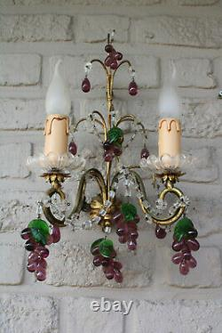 PAIR vintage 190 italian wall lights murano grape glass fruit drops sconces