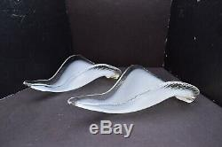 Pair VTG Art Nouveau deco Murano Petal Glass Slip shade for sconce or chandelier
