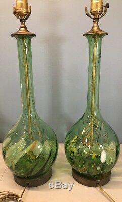Pair Vintage MURANO Tall Art Glass with Brass Green Twists/Swirls Table Lamps