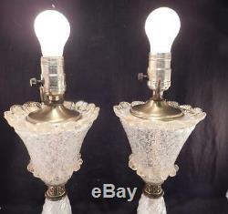Pair Vintage Mid Century Modern Table Lamps Italian Murano Venetian Art Glass