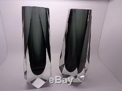Pair Vintage Murano Mandruzzato Submerged Glass Vases Clear /black (38.2)