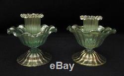 Pair Vintage Salviati Venetian Italian Murano Art Glass Candlestick Holders