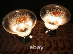 Pair of Italian vintage Murano caramel glass table lamp Mazzega style