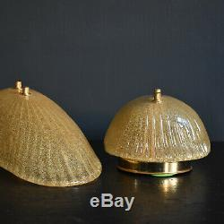Pair of Murano Gold Glass Wall Lights, 1960s Vintage Mid Century Sconces