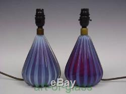 Pair of Murano vintage opalescent glass lamps