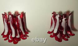 Pair of Vintage Italian Murano wall lights Mazzega 10 red lattimo glass peta