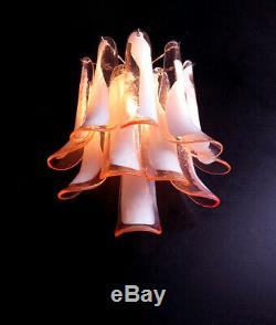 Pair of Vintage Italian Murano wall lights in the manner of Mazzega 10 pink la
