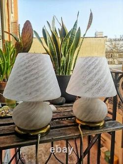 Pair of Vintage MUSHROOM TABLE LAMPS VETRI MURANO Art Glass 70s Italy Swirl