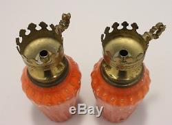 Pair of Vintage Mid-Century Murano Italian Art Glass Lamps Orange with Gold