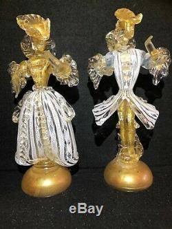 Pair of Vintage Murano Venetian Art Glass Latisino and Gold Courtesan Figures