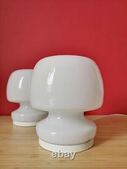 Pair of Vintage White MUSHROOM Table Lamps MURANO Art Glass 70s Italy Fungo