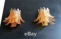 Pair of vintage Murano Six-Tier Felci wall sconce amber glasses
