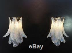 Pair of vintage Murano opaline Felci Glass chandelier