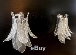 Pair of vintage Murano trasparent Felci Glass wall lights