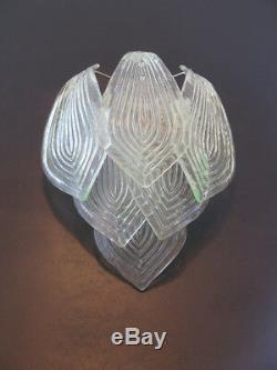 Pair of vintage Murano trasparent big glass leaves with green reflexes