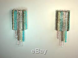 Pair of vintage Murano wall sconce 32 multicolor prism icicle