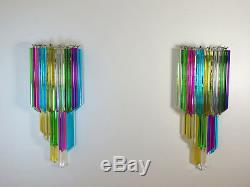 Pair of vintage Murano wall sconce 32 multicolor quadriedri -Mariangela model