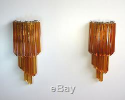Pair of vintage Murano wall sconce 32 quadriedri amber prism